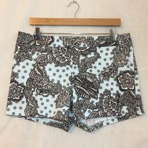 Express Blue Paisley Stretch Cotton Shorts Sz 10